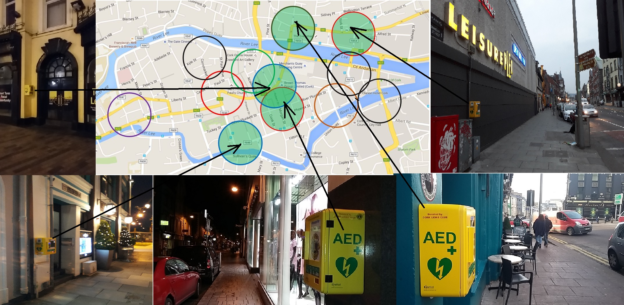 Cork City Centre AED locations